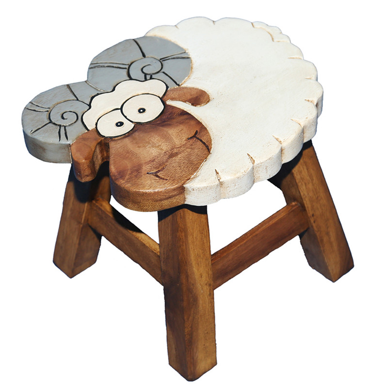 Portable Wooden Small Kids Stool Chair For Children Furniture Hand Carved Acacia Hardwood Decorative Short Animal Child