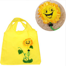 1Pc Sun flower shopping bag Environment Eco-friendly folding reusable Portable Shoulder handle Bag Polyester for Travel Grocery(China)