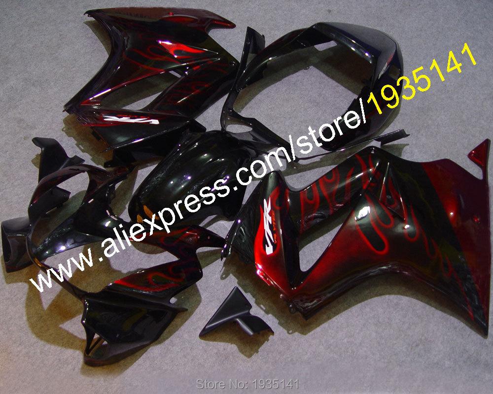 Горячие продаж,пламя кузова для Honda VFR800 2002-2012 02-12 ВФР 800 красный черный послепродажного Мото Обтекатели комплект (литья под давлением)