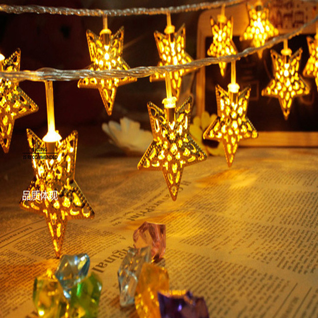 Golden Star Led String Lights 5m 20 Christmas Party Decorative Lighting Lamp Indoor Bedroom Fairy