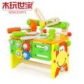 Crianças Caixa De Ferramentas Menino Enigma Brinquedos de madeira Conjuntos de Ferramentas de Reparo Reparos Força de Montagem Porca de Demolição de Simulação Para As Crianças Terno Do Bebê