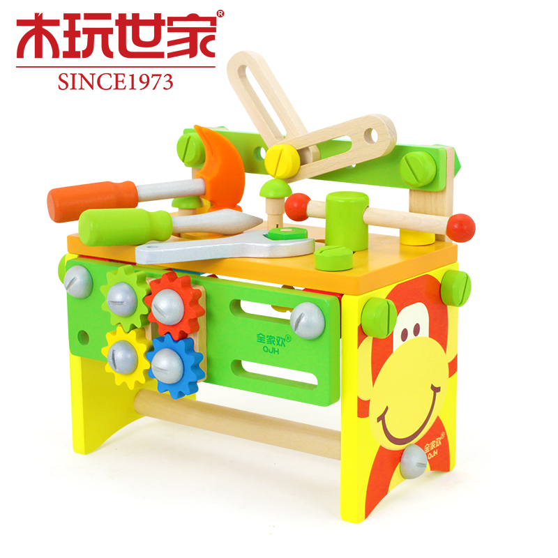 Wooden Children Toolbox Boy Toys Puzzle Simulation Repairs Demolition Assembly Force Nut Repair Tool Sets For Kids Baby Suit special preschool children tong yizhi world map flags inserted wooden jigsaw puzzle assembled three dimensional toys no