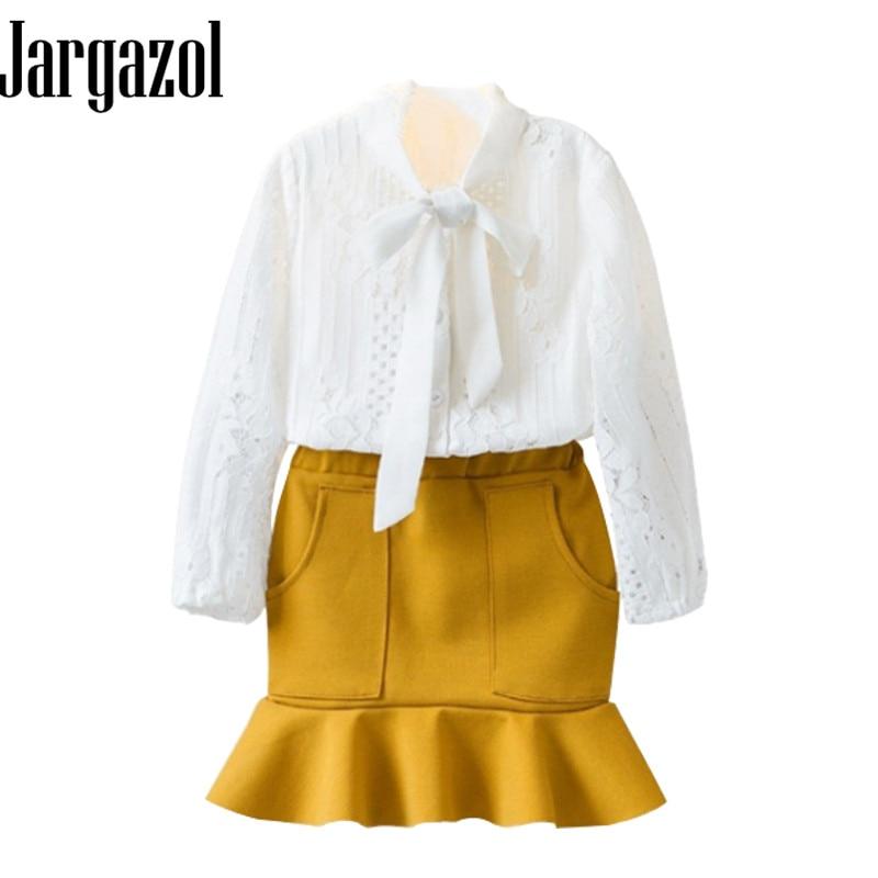 Jargazol Baby Girl Clothes 2pcs Fashion Long Sleeve Hollow Out Shirt + Tighten Skirt Children;s Clothing Set Birthday Gift ...
