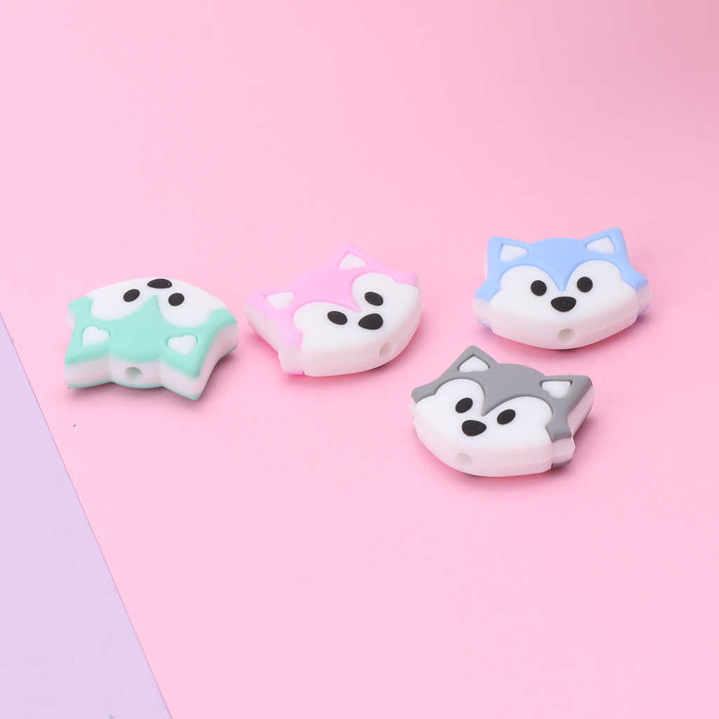 Fox Baby Teething Beads Cartoon Silicone Beads For Necklaces BPA Free Teether Toy Accessories Nursing DIY