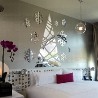 クリエイティブdiyかわいい3dアクリルミラーウォールステッカー子供ルームクリスマスツリープラスチック雪フレーク装飾壁ミラーインテリアr131
