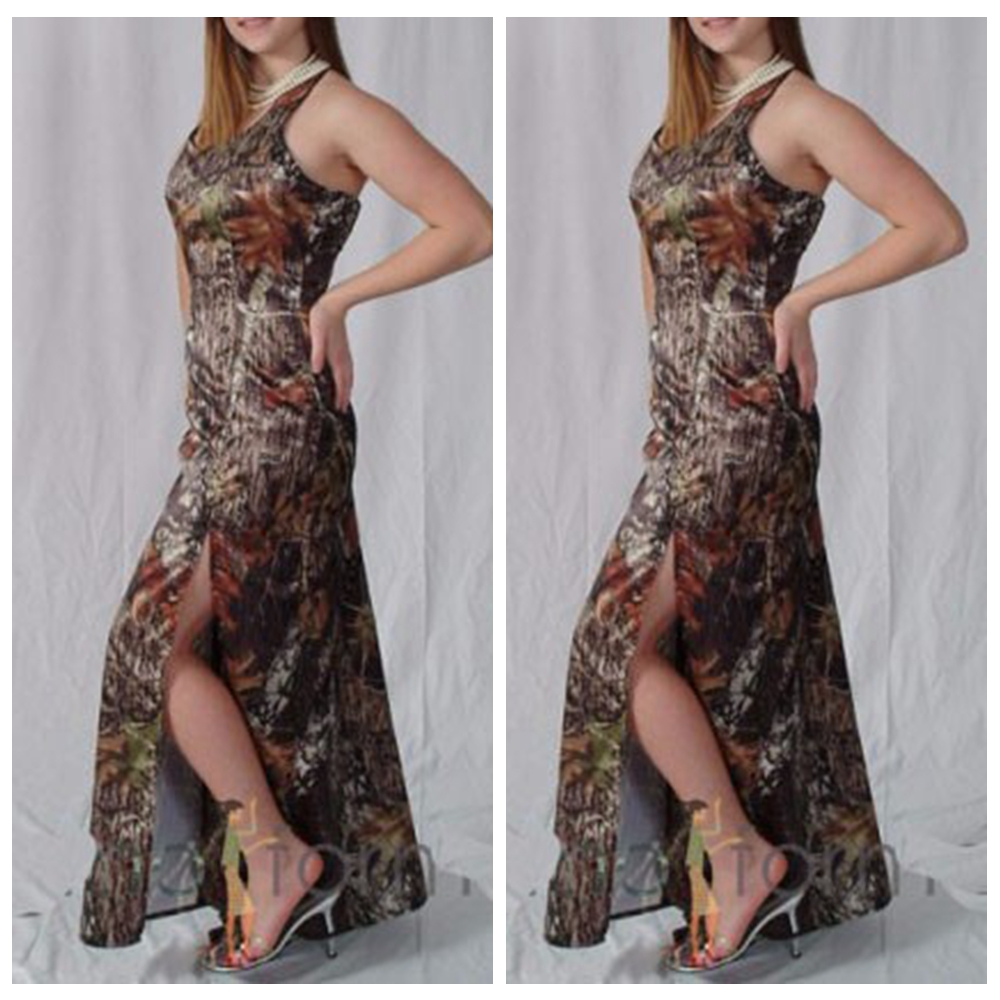 Halter Mermaid Camo Bridesmaids Dresses Split Front 2019 Slim Long Vestidos De Bridesmaid Honor Of Maid Custom Camouflage