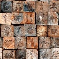 خمر نمط 3d الخشب غرفة المعيشة مطعم خشبي خلفيات pvc للرطوبة سميكة الفينيل ورق الحائط رولز