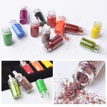 48pcs/set nail art decoration in glass bottle Flash Pink sequines hexagonal glitter nail sticker DIY 3D nail art flakes MZ070 2