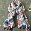 2017 spring and summer cotton hemp sunshade circle prints fringed Scarf Shawl vines sunscreen silk scarves