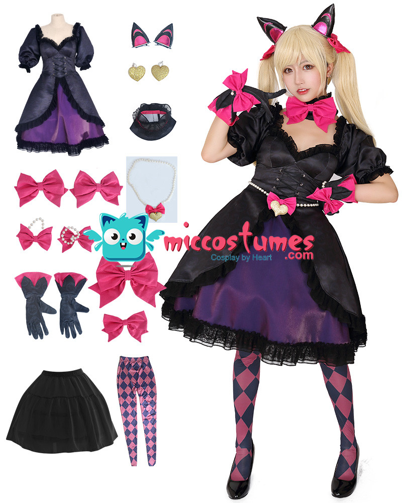 D Va Hana Song Black Cat Cosplay Costume Dress with Cat Ears