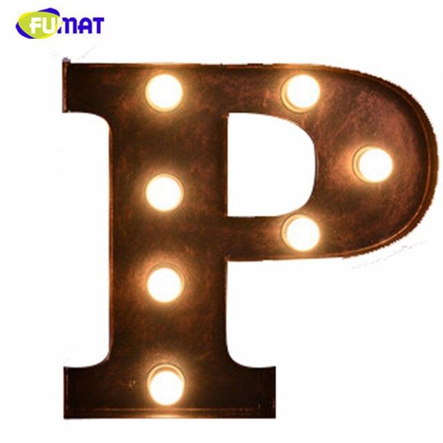 Fumat Metal Letter Lights Vintage American Loft Letter P