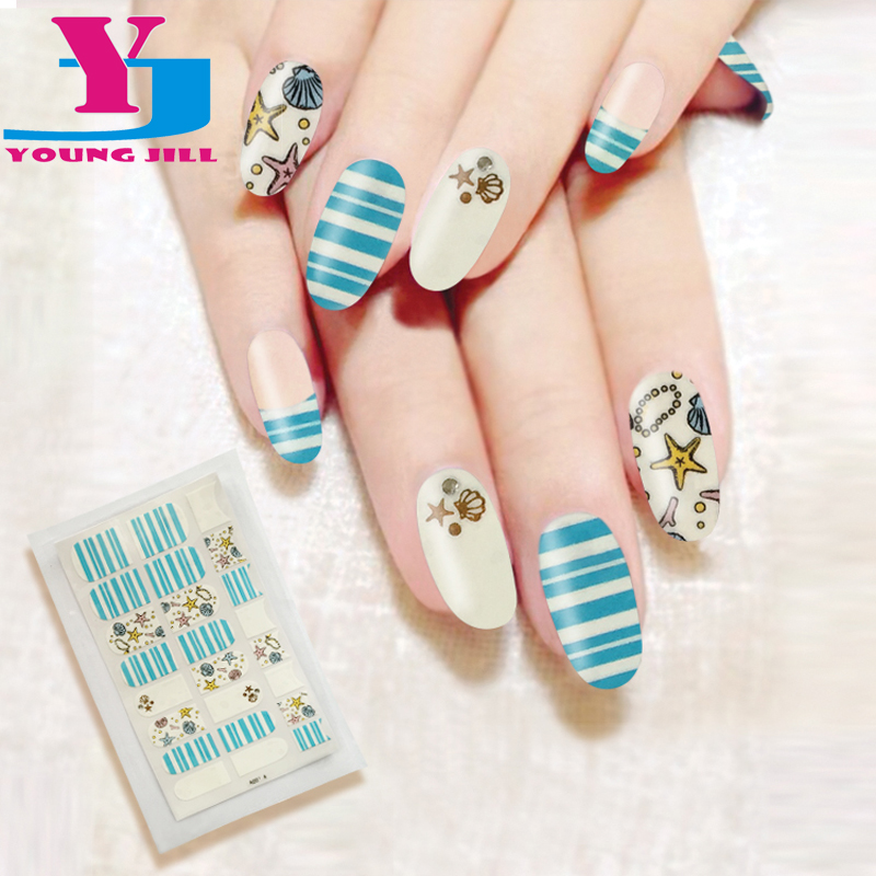 Fashion Starfish Design Nail Polish Sticker Full Cover Nail Art Stickers Manicure 3D Nail Wraps Decals Office Lady Beauty Finger