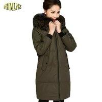 Winter Women Jacket 2017 High Quality Comfortable Hooded Genuine Leather Coat Fashion Fur Collar Long Slim