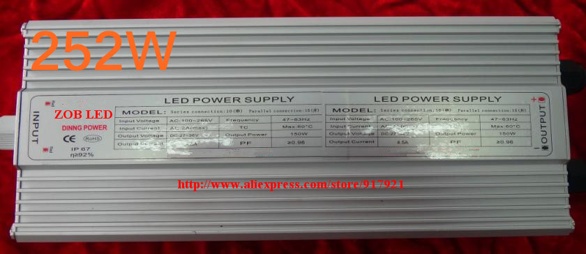 252w led driver, DC54V,5.4A,high power led driver for flood light / street light,IP65,constant current drive power supply