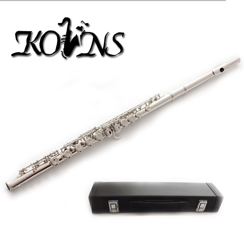 16 Holes C Key Flute Cupronickel Plated Silver Woodwind Instrument with Cork Grease Cleaning Cloth Gloves Padded Case alto flute g pitch cupronickel body closed holes in line with foambody case musical instrument free shipping