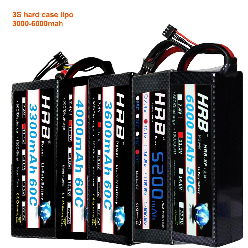 HRB 3S Lipo Battery 11 1V 3000mah 3300mah 3600mah 4000mah 5200mAh 6000mah 60C 50C Hard Case