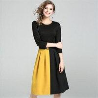 Fashion Contrast Color Dress A Line Office Lady Dress Autumn Bodycon Dress Vestidos Hollow Out Patchwork