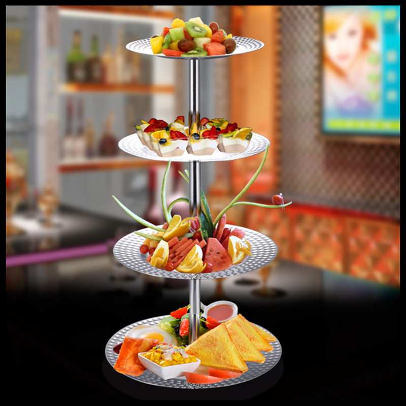 1 PCS Stainless steel multi layer European afternoon tea snack rack Buffet bar ktv snack snack tray pastry rack