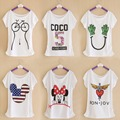 2016 Summer New Brand T shirt Digital Print Minnie Cotton T-shirt Lady Batwing Sleeve Tshirt Tops Tee For Women