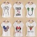 2016 Verano Nueva Marca T shirt de Impresión Digital de Minnie Camiseta de Algodón de la Señora Camiseta de Manga Batwing Tops Camiseta Para Las Mujeres