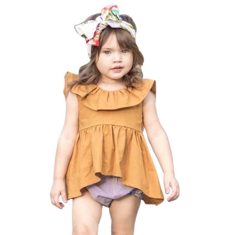 Baby Girl Dress New Summer Sleeveless Leaf Irregular Orange Dress Fashion Baby Princess Dress