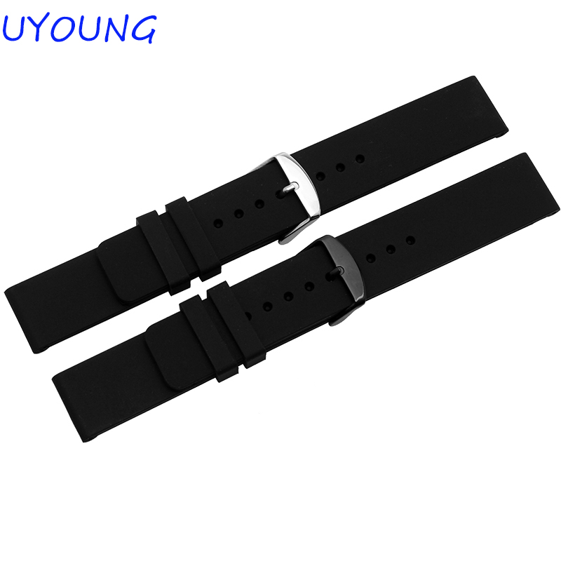 Wholesale New Hot High Quality Waterproof Silicone Watchband 20mm Black Watch Accessories Bracelet Brand General wholesale price high quality fashion high quality stainless steel watch band straps bracelet watchband for fitbit charge 2 watch