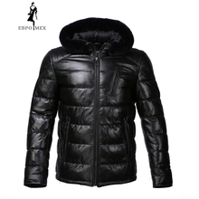 New Winter leather jacket Bring  hat leather jacket men Internal Cotton jacket mens genuine leather Warm jaqueta de couro mascul 2017 men new fashion winter warm leather jacket men hat detachable genuine leather jacket designer motorcycle biker jacket