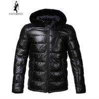New Winter leather jacket Bring hat leather jacket men Internal Cotton jacket mens genuine leather Warm jaqueta de couro mascul