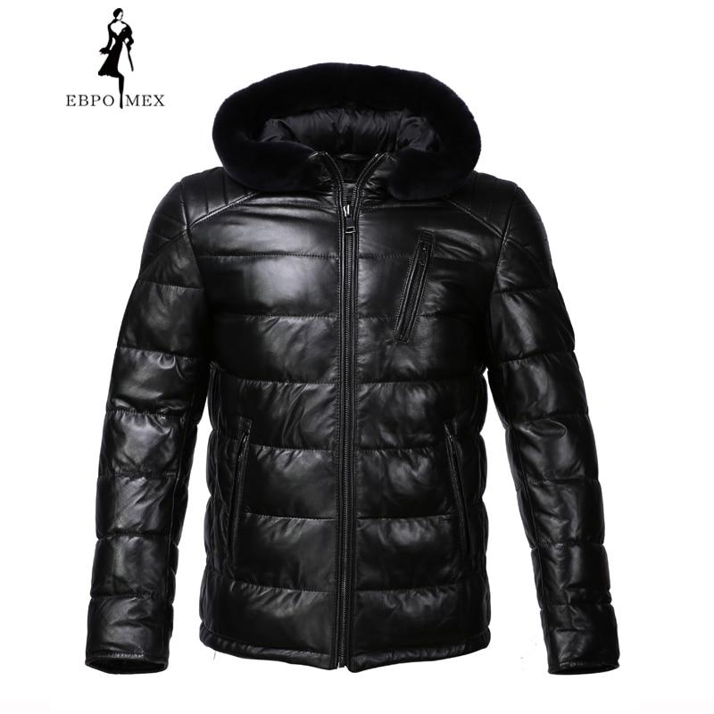 Nouveau cuir D'hiver veste Apporter chapeau en cuir veste hommes Interne Coton veste hommes en cuir véritable Chaud jaqueta de couro mascul
