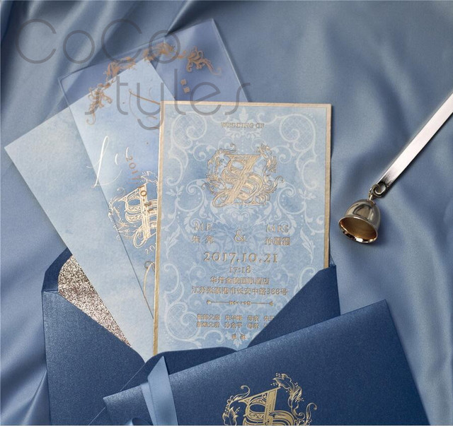 cocostyles bespoke elegant tracing paper acrylic invitation card with gold foiling printing for garden wedding
