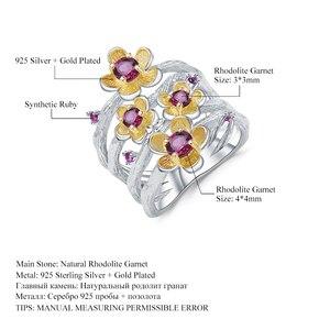 Image 5 - Gems Ba Lê Bạc 925 Handmade Vòng 0.96Ct Tự Nhiên Rhodolite Garnet Hoa Mận Hoa Cho Nữ, Nhẫn Nữ Trang Sức Viễn Chí Bảo