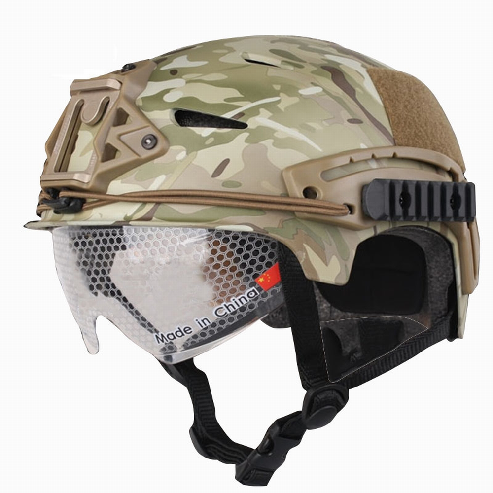 EM8981D Tactical Military Helmet With Protective Goggle Glasses Camo Adjustable Airsoft Helmets Universal for CS War Game high quality outdoor airframe style helmet airsoft paintball protective abs lightweight with nvg mount tactical military helmet