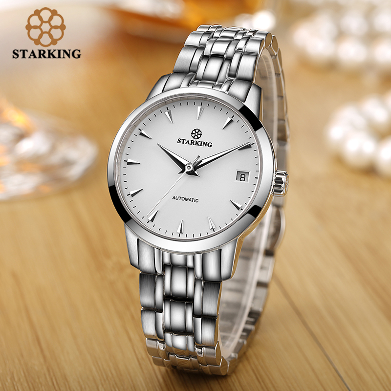 Image 5 - StarKing Classic Women Simple Watch Automatic Stainless Steel White Dial WristWatch Auto Date Ladies Mechanical Relogio Feminino-in Women's Watches from Watches