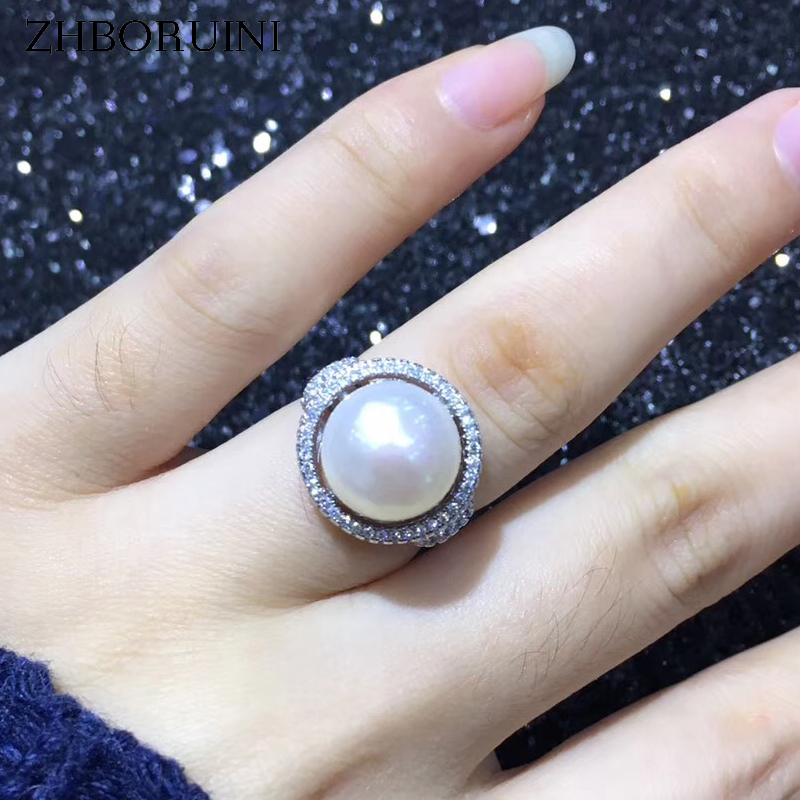 ZHBORUINI Statement Pearl Ring Jewelry 925 Sterling Silver For Women Natural Freshwater Pearl Full Zircon Big Rings Wholesale