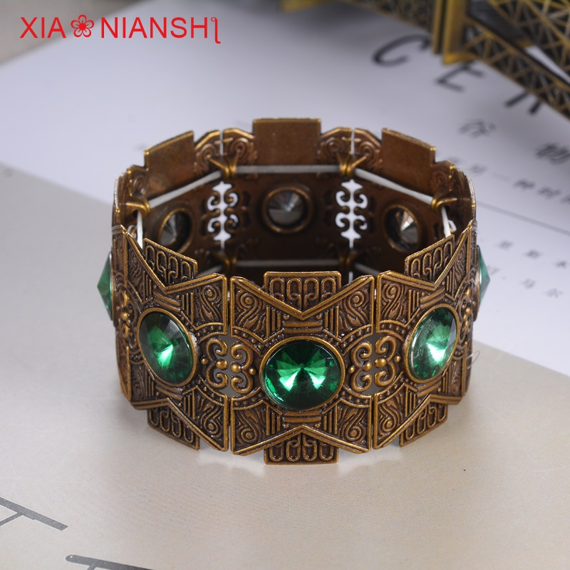 Brand Creative Bohemian stretch stretch mansjettarmbånd for kvinner Tyrkia Vintage Branch Flower Bangles Big Crystal Bronze Jewelry