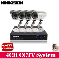 Plug And Play CCTV System 4CH H 264 DVR NVR Video Recorder 900TVL HD Outdoor IR