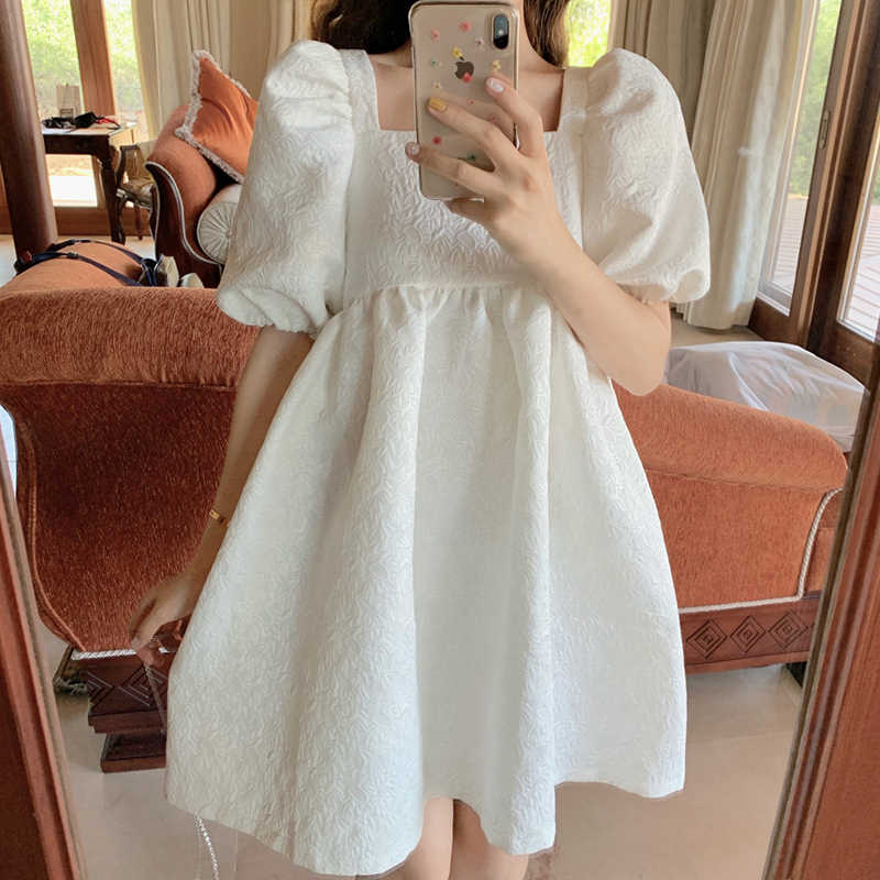 Back Hollow Out White Dress Sexy Lolita Girl Square Neck High Waist Dress Puff Sleeve Vestido Fiesta Vestiti Donna Robe Femme