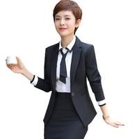 Fmasuth 3 pieces Set Business Skirt Suit for Women Black Blazer+White Shirt+Black Skirt Office Uniform HD ow0446