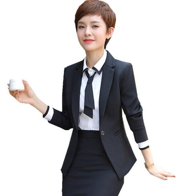 Fmasuth 3 unidades negocio conjunto traje de falda de las mujeres chaqueta  negro + camisa blanca 71aa255b360e