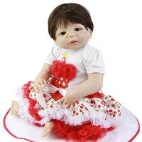23 ''белая кожа малышка реборн куклы с волосами комплекты 57 см Реалистичная полный силиконовые Born кукла с Детская соска коллекция девушка под