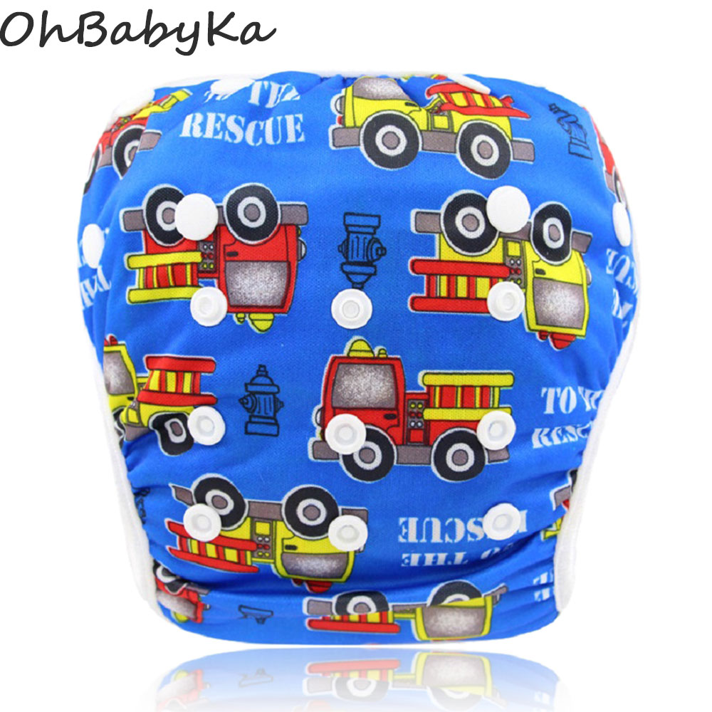 Ohbabyka Baby Pool Pant Boys Cartoon Swimwear Reusable Baby Swim Diaper Size Adjustable Girls Boys Swimming Diaper for Summer