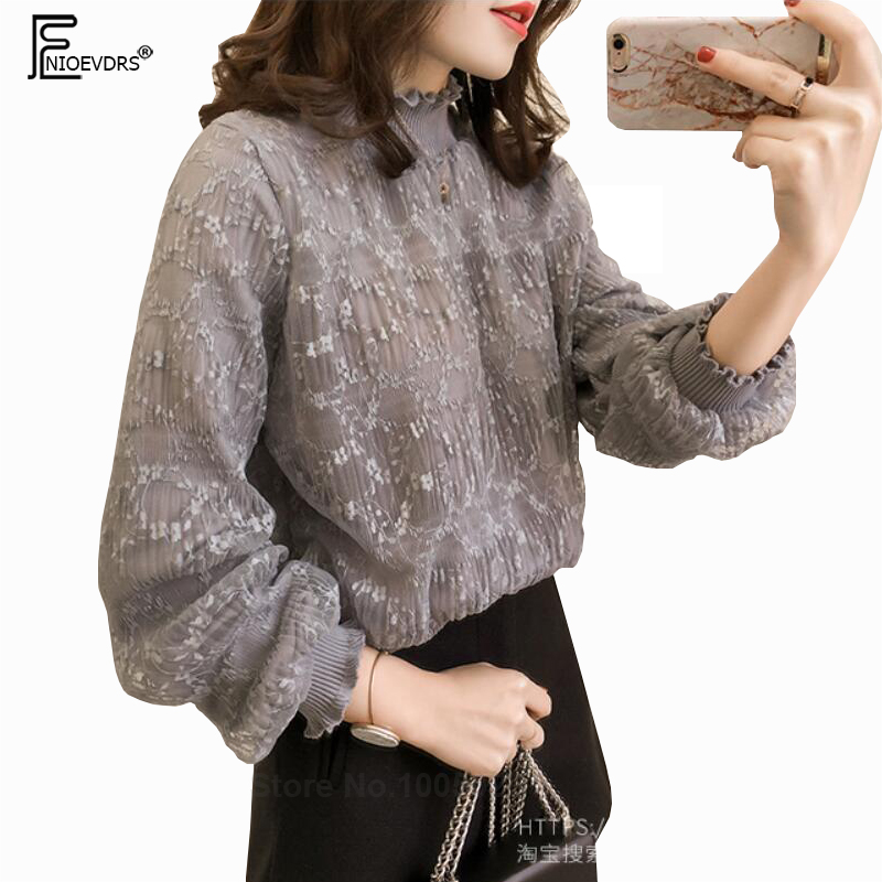 L-4xl Plus Size Lace Tops Women Clothes Summer 2019 Korean Fashion Turtleneck Long Sleeve Loose Casual Ladies Blouses Tops Women's Clothing