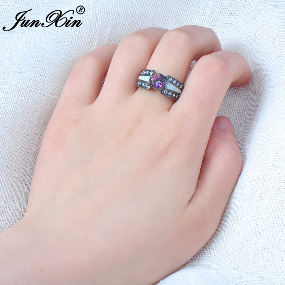 JUNXIN Rainbow Colour Female Opal Ring Black Gold Filled Jewelry ...