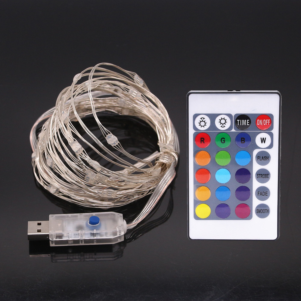 2PCS 5V USB string led lights 5M powered outdoor RGB copper wire christmas festival wedding party decoration with 24 key Remot
