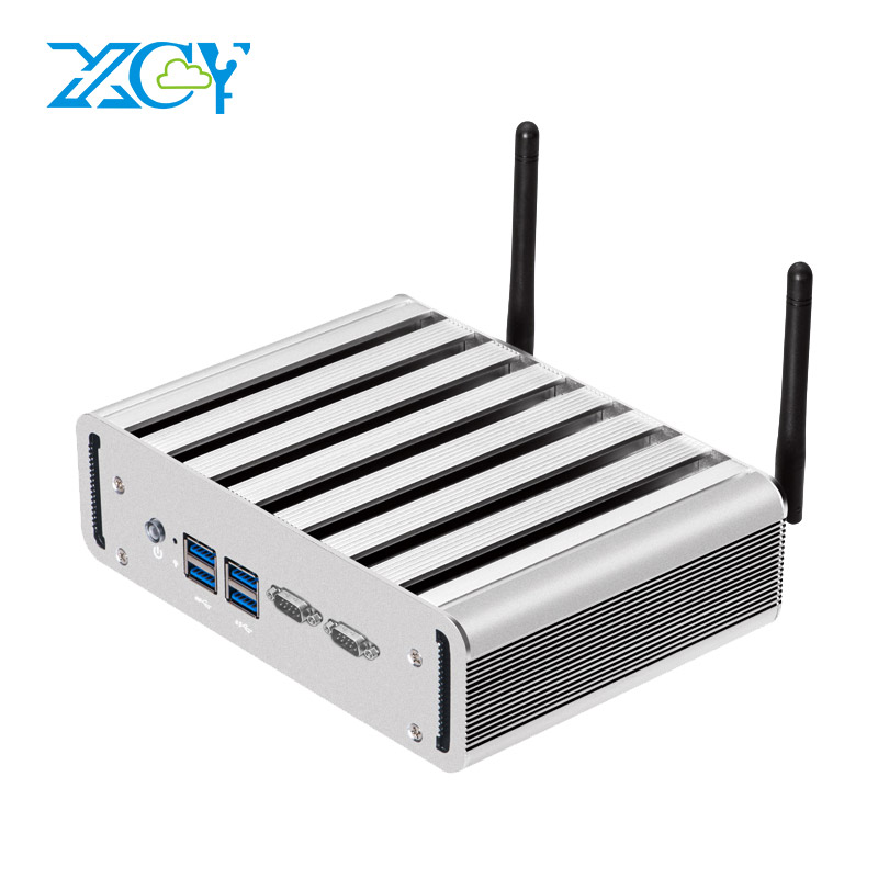 XCY Mini PC Intel Core I3 4010U I5 4200U I7 4500U Dual LAN 2*RS232 WiFi 4*USB HDMI VGA Fanless Micro Industrial PC Windows 10