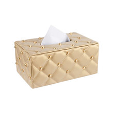 Fashion quality pumping paper box table napkin leather tissue brief car