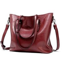 JIULNI Brand Women Leather Handbags Lady Large Tote Bag Female Pu Shoulder Bags Bolsas Femininas Sac A Main Brown Black Red
