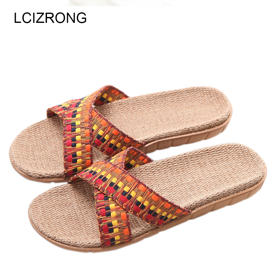 LCIZRONG Summer Home Slipper Women Bedroom Beach Slippers Woman Indoor 5 Gradient Color Plus Size Flat Unisex House Slippers