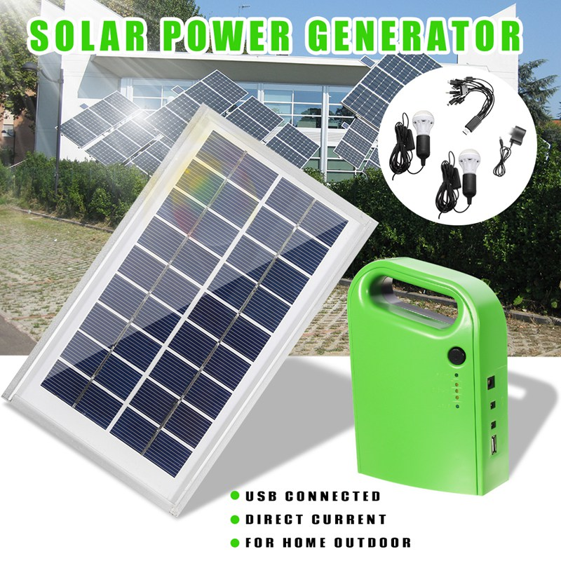 Universal Portable Home Outdoor DC Solar Panels Lighting Charging Generator Power System With 2xSolar Bulb+USB Charging Cable