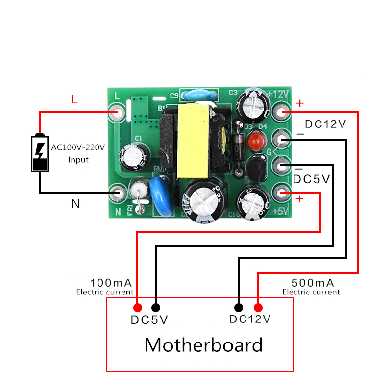AC-DC 110-220 В Импульсный блок питания AC-DC изоляционный входной выход 5 В/12 В/100 мА/500 мА